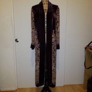 Full Length Silk/Rayon Mix Velvet Open Front Robe